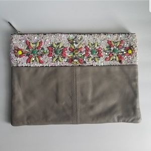 Asos Floral Embellished Gray Leather Clutch